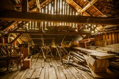 Free Interior Of Old Wooden Shed With Scrap Wood With Sunrays Royalty Free Stock Photography - 187754257