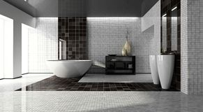 Interior Of The Modern Bathroom 3D Royalty Free Stock Image