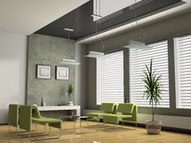 Interior office 3D. Interior office for negotiations 3D rendering stock illustration