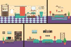 Interior office, bedroom, bathroom, living roomin modern style. A complete set of furniture vector illustration
