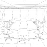 Interior office meeting room. Tracing illustration Royalty Free Stock Image