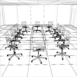 Interior office meeting room. Tracing illustration Royalty Free Stock Photo