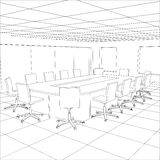 Interior office meeting room. Tracing illustration Royalty Free Stock Photography