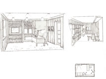 The interior of the office. The modern interior hand drawn sketch interior design Stock Photo