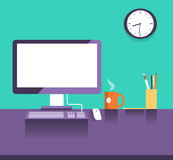 Interior office place.Flat design style Stock Photos