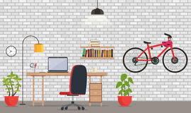 Interior of office or room with white brick wall. vector illustration