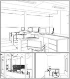 Interior Office Rooms Vector 07 Royalty Free Stock Photography