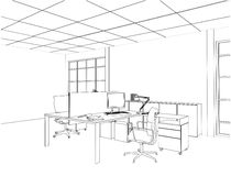 Interior Office Rooms Vector Stock Photo