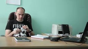 Interior Office Sad Businessman Talk Bad News Landline Phone Call Disappointed stock video