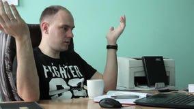Interior Office Sad Businessman Talk Bad News Landline Phone Call Disappointed stock video footage