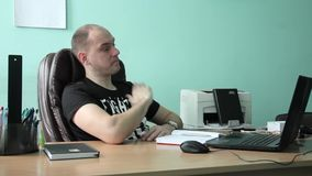 Interior Office Sad Businessman Talk Bad News Landline Phone Call Disappointed stock footage