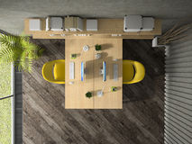 Interior of the office with two table top view 3D rendering Royalty Free Stock Photography