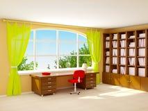 Interior office with window. Interior of director office with big half-round window. Cartoon style vector illustration