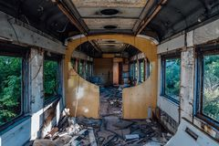 Interior of old abandoned broken railway wagon royalty free stock images