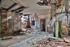 Interior of the old, abandoned and crumbling building Royalty Free Stock Images