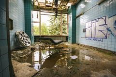 Interior of an old abandoned hospital royalty free stock photo