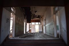 Interior of an old abandoned school Royalty Free Stock Photography