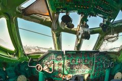 Interior of an old aircraft with control panel Royalty Free Stock Photo