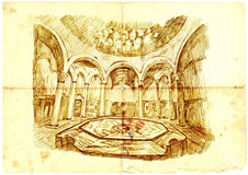 Interior of the old baths Royalty Free Stock Images