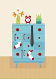 Interior old blue dresser Royalty Free Stock Images