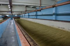 Inside the old malt house. The interior of an old brewery room for drying fresh malt stock photo