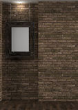 Interior with old brick wall and frame Royalty Free Stock Photography