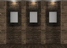 Interior with old brick wall and frames Royalty Free Stock Image
