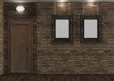 Interior with old brick wall and rusty door Stock Photos