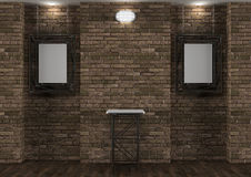 Interior with old brick wall, stand and frames Stock Images