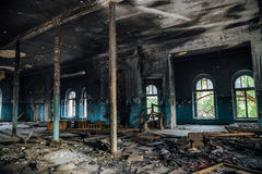 Interior of the old burnt mansion, Astrakhan Royalty Free Stock Images