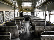 Interior of old bus, vintage and retro background royalty free stock image