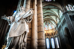 Interior of old catholic church, France. Royalty Free Stock Photography