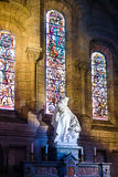 Interior of old catholic church in France, Europe. Statue Royalty Free Stock Photo
