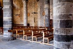 Interior of old catholic church in vernazza Stock Photos