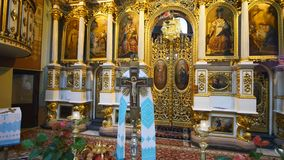 Interior of an old church altar stock footage