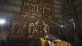 Interior of an old church altar.  stock footage