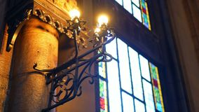 Interior church light window. Interior of an old church altar stock video footage
