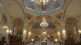 Interior of an old church before wedding ceremony stock footage