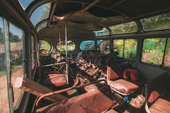 Interior of an old city transit bus Stock Photo