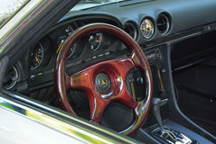 Interior of old classic convertible mercedes car. Royalty Free Stock Photography