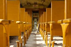Interior of old deserted railway carriage Stock Image