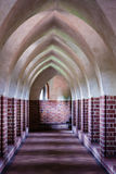 Interior of old empty hall. Arch of castle. Medieval architecture. Stock Photography