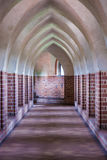 Interior of old empty hall. Arch of castle. Medieval architecture. Royalty Free Stock Images