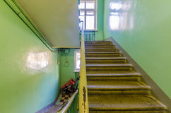 The interior of the old entrance of an apartment house in Moscow Royalty Free Stock Image