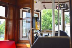 Interior of a old famous yellow elevator tram 28 Royalty Free Stock Photography