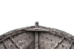 Interior of an old fishing wood boat. Horizontal photo of an old fishing wood boat with rusted nails isolated on white background Stock Photography