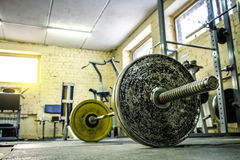 Interior of an Old Gym for Bodybuilding. Barbell in the gym Stock Image