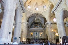 Interior of Old Havana Catholic Cathedral. The hall has stone pi Royalty Free Stock Image