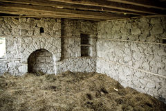 Interior of old house. Full of hay Stock Photo