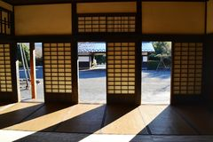 Interior of an old japanese house. Inside shot of an old japanese hut Royalty Free Stock Image
